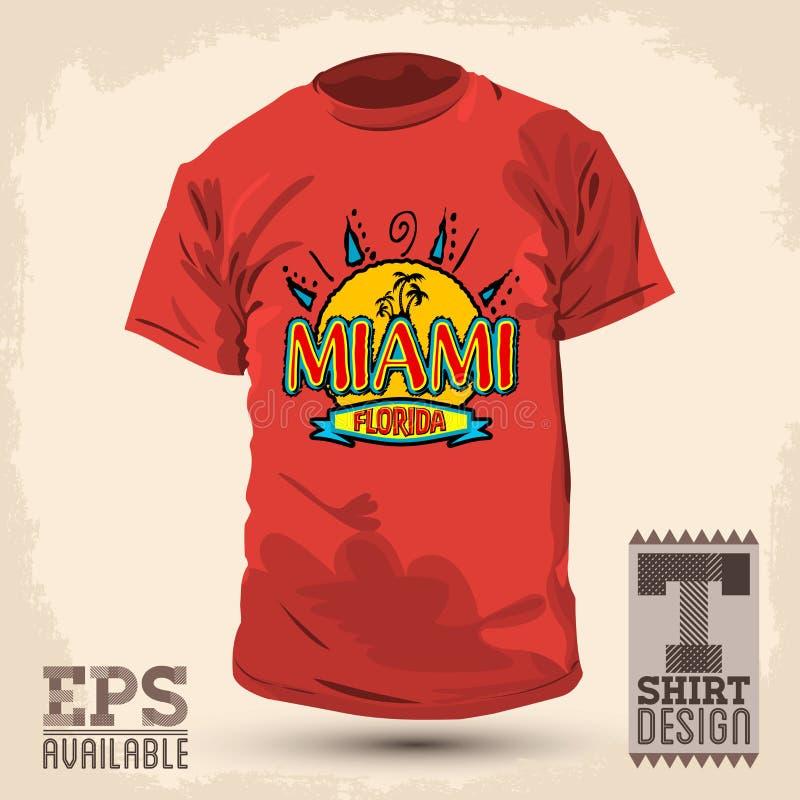 Conception graphique de T-shirt - Miami la Floride illustration de vecteur