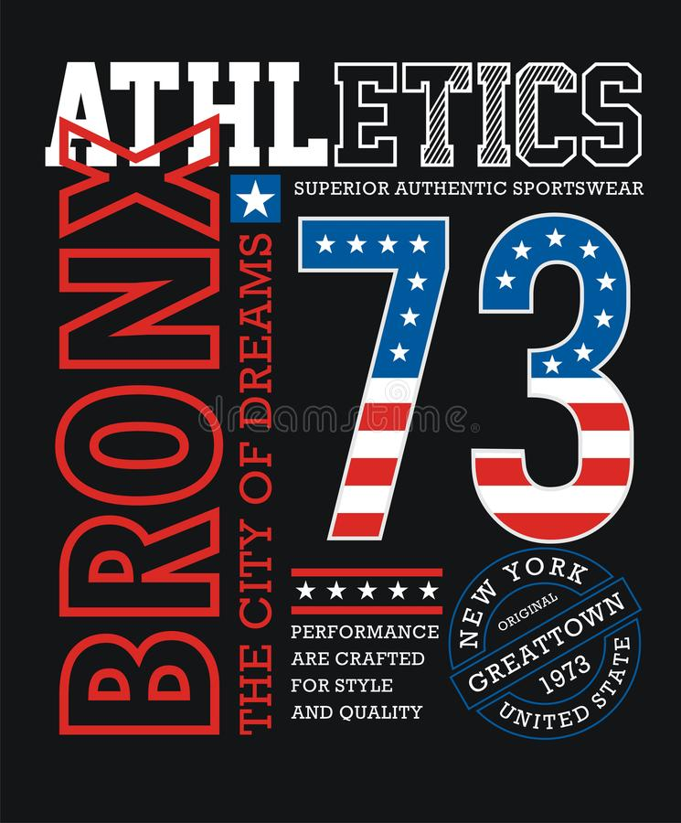 Conception graphique de typographie de T-shirt sportif de Bronx illustration stock