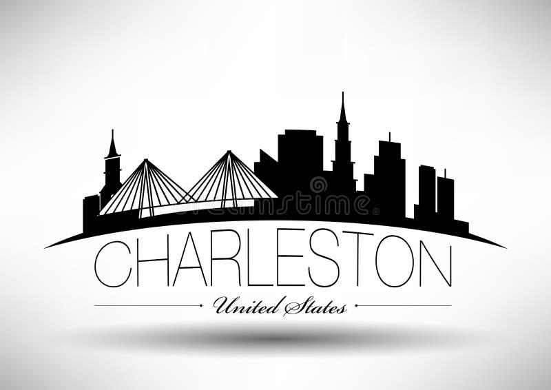 Conception graphique de vecteur de Charleston City Skyline illustration libre de droits
