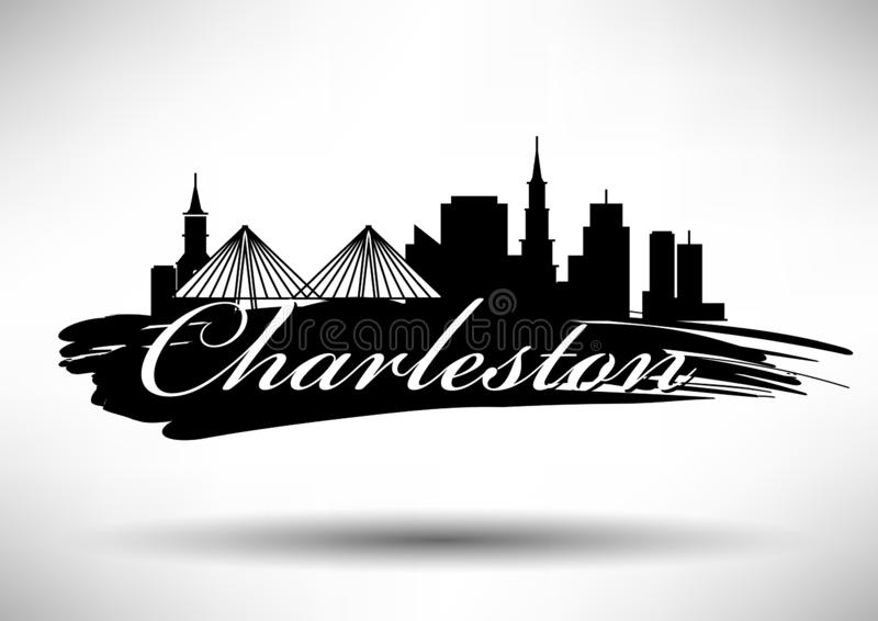 Conception graphique de vecteur de Charleston City Skyline illustration stock