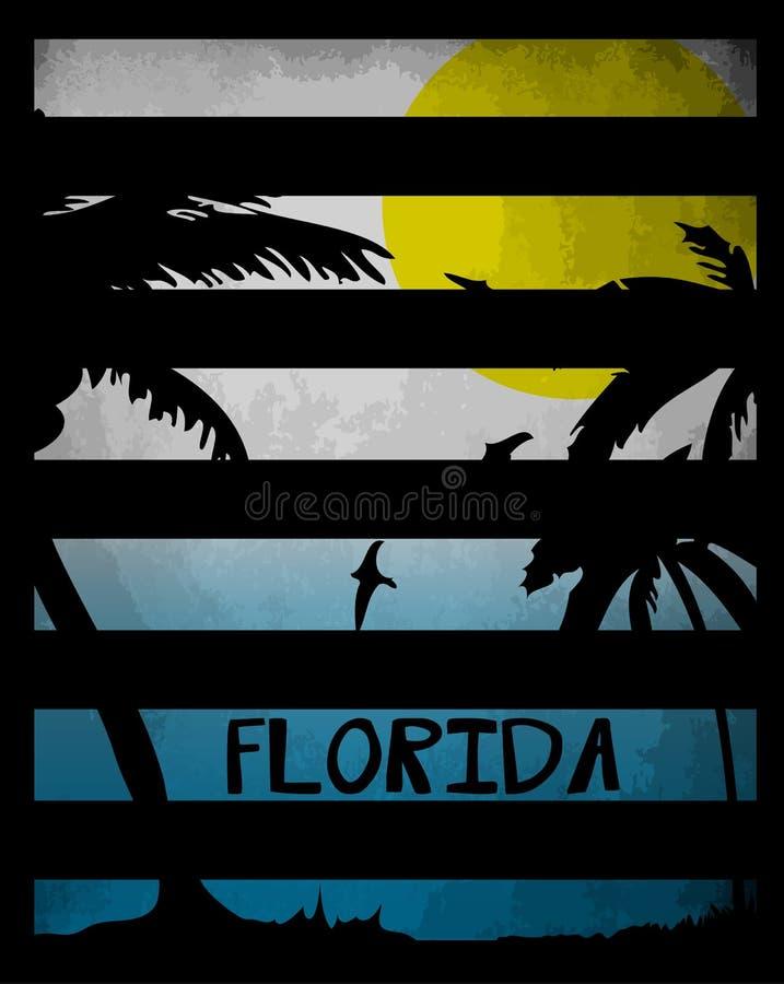 Conception graphique la Floride la Californie de pièce en t d'été illustration stock