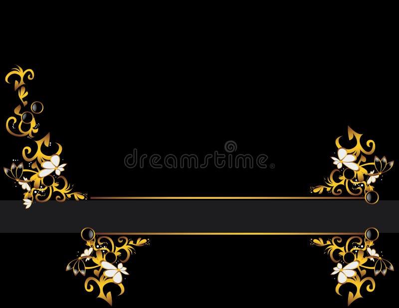 Conception grise de fond d'or noir illustration libre de droits