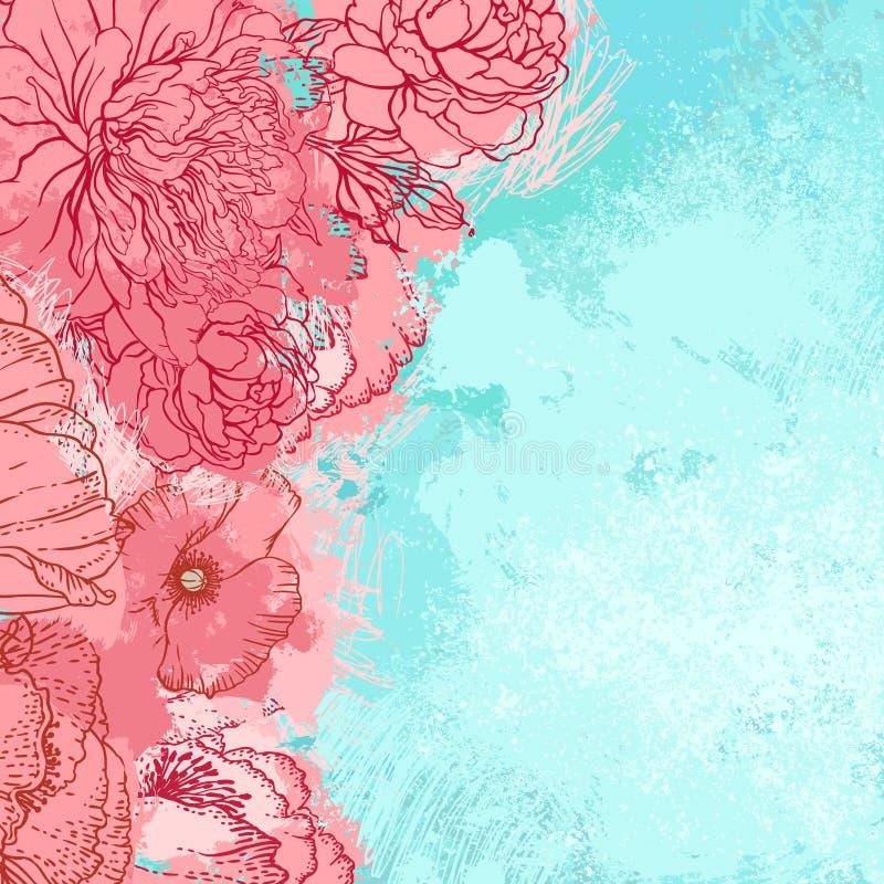 Conception grunge de belle pivoine illustration de vecteur