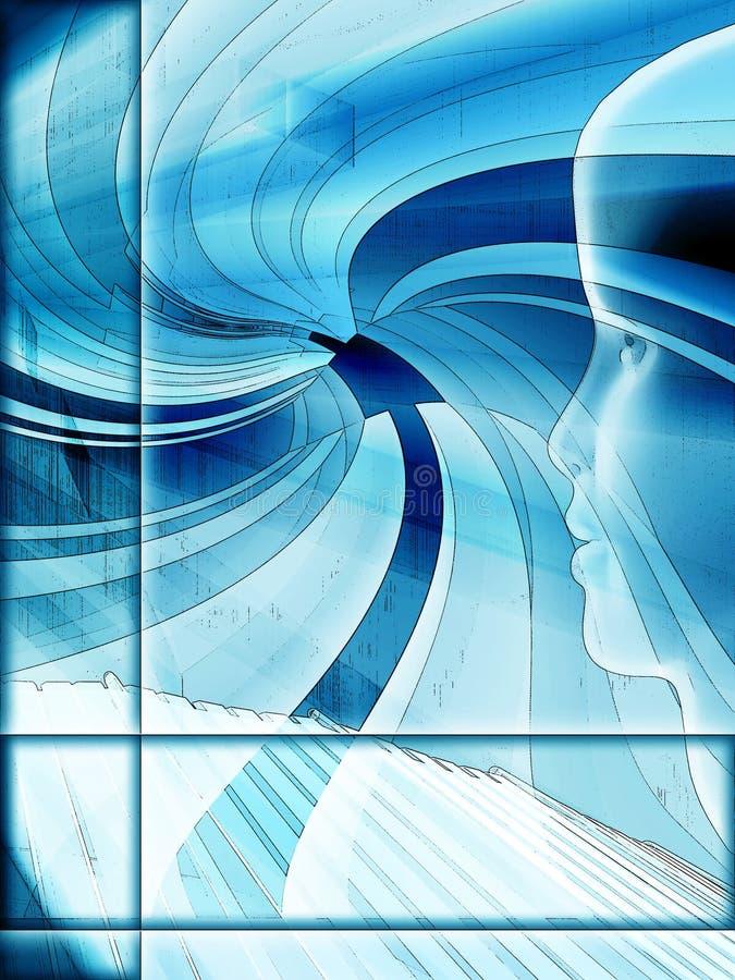 Conception grunge de technologie d'illustration bleue illustration libre de droits