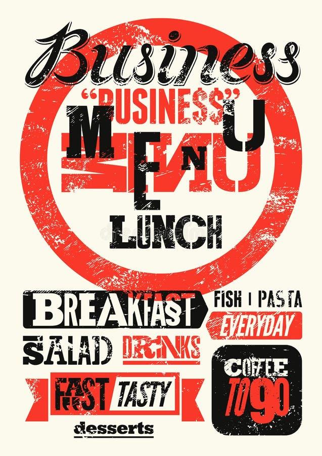 Conception grunge typographique de menu de restaurant Affiche de déjeuner d'affaires de vintage Illustration de vecteur illustration stock