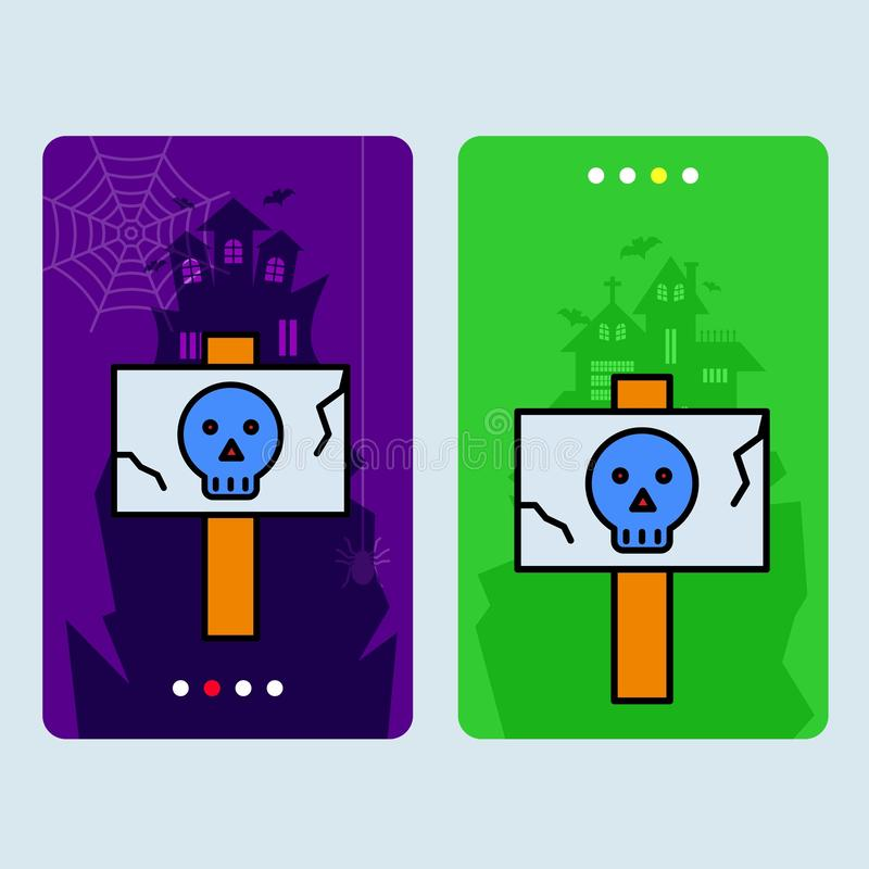 Conception heureuse d'invitation de Halloween avec le vecteur de conseil de danger illustration libre de droits