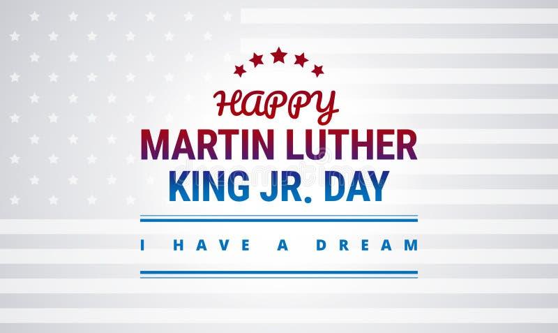 Conception heureuse de bannière de vacances nationales de Martin Luther King Day illustration de vecteur