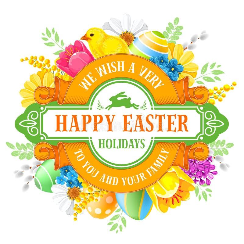 Conception heureuse de cercle de salutation de Pâques illustration libre de droits