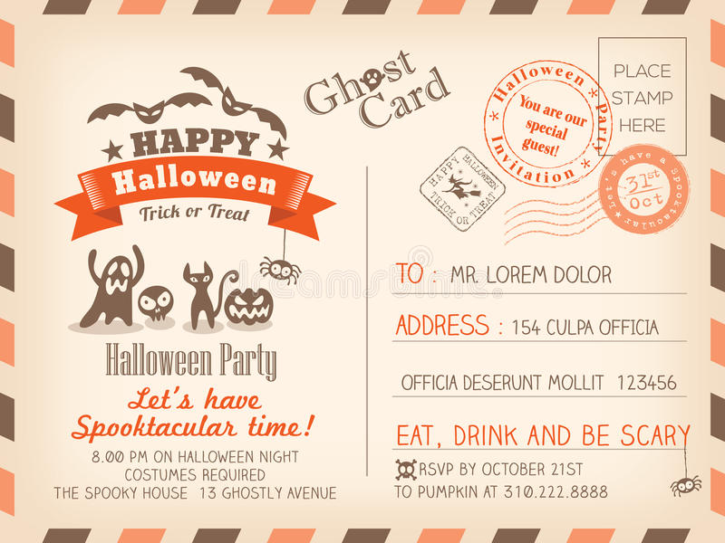 Conception heureuse de fond d'invitation de carte postale de vintage de Halloween illustration stock