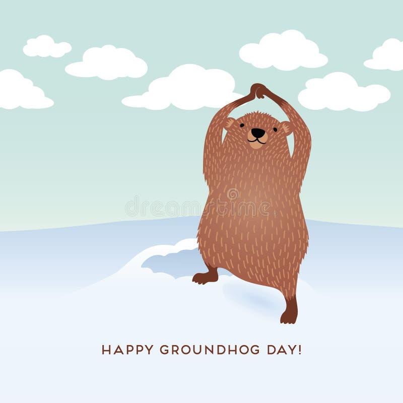 Conception heureuse de jour de Groundhog avec le groundhog mignon illustration de vecteur