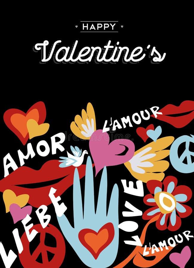 Conception heureuse de jour de valentines rétro avec la décoration illustration libre de droits