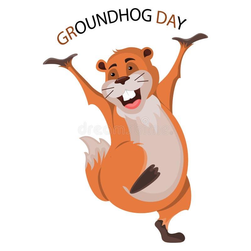 Conception heureuse de jour de Groundhog avec le groundhog mignon illustration libre de droits