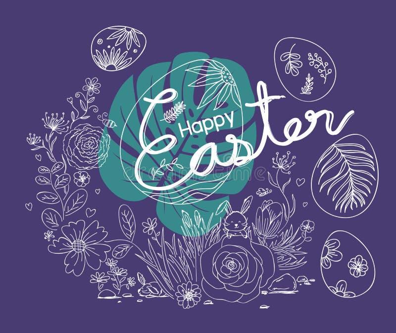 Conception heureuse de Pâques des fleurs et du lapin dans le jardin illustration stock