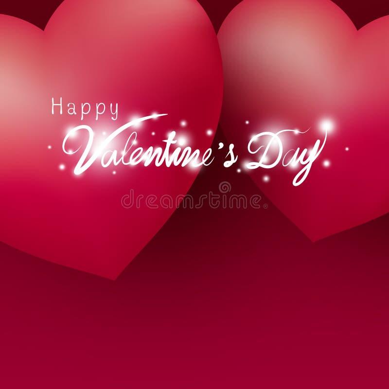 Conception heureuse de Saint-Valentin des coeurs sur le fond rouge illustration stock