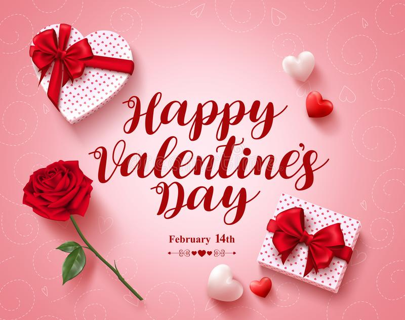 Conception heureuse de vecteur de carte de voeux des textes de jour de valentines avec des cadeaux d'amour illustration de vecteur