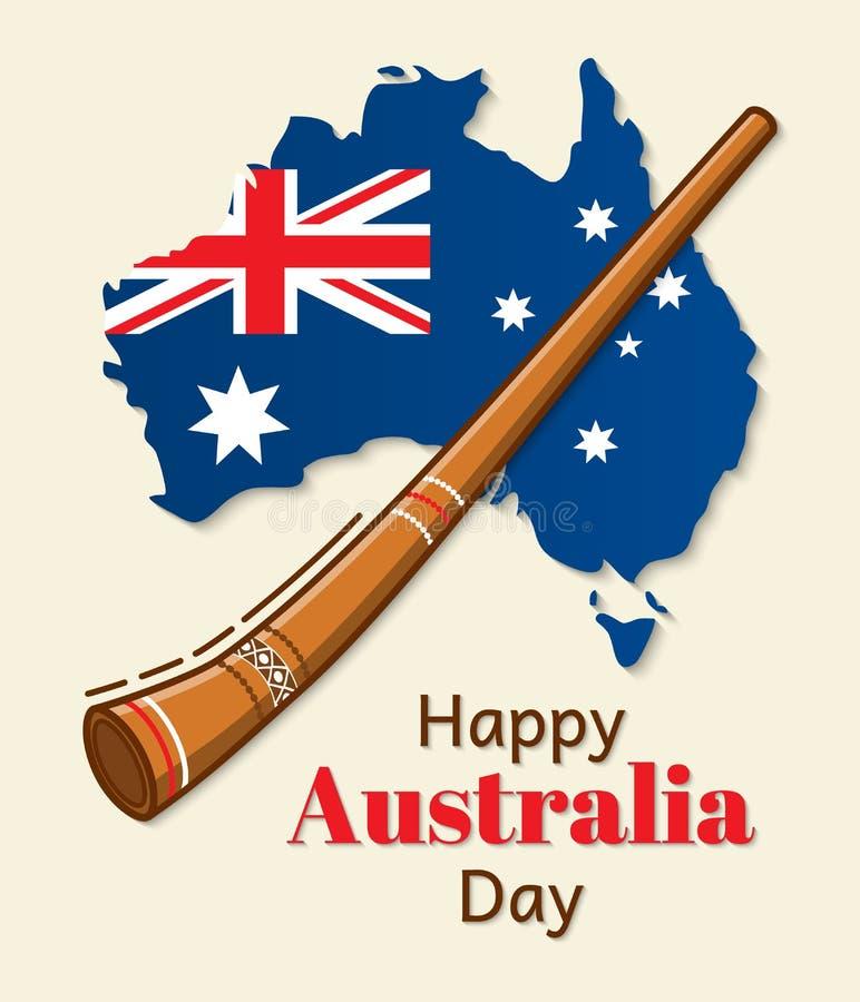 Conception heureuse de vecteur de jour d'Australie Drapeau national sous forme de carte Inscription et instrument de musique trad illustration libre de droits