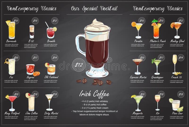 Conception horisontal de menu de cocktail de dessin arrière illustration libre de droits
