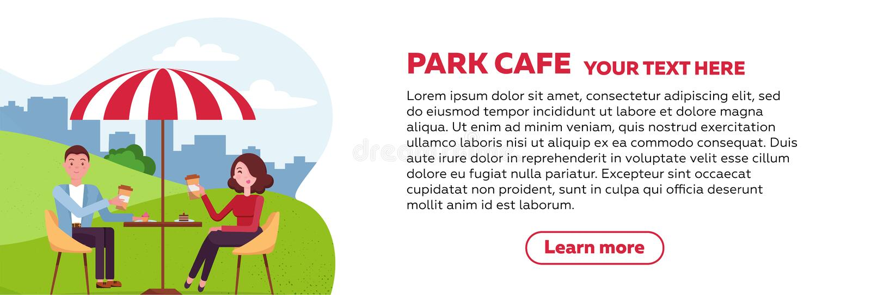 Conception horizontale de brochure pour le café de parc le couple détend dans un café extérieur en parc de ville sur une pelouse  illustration de vecteur