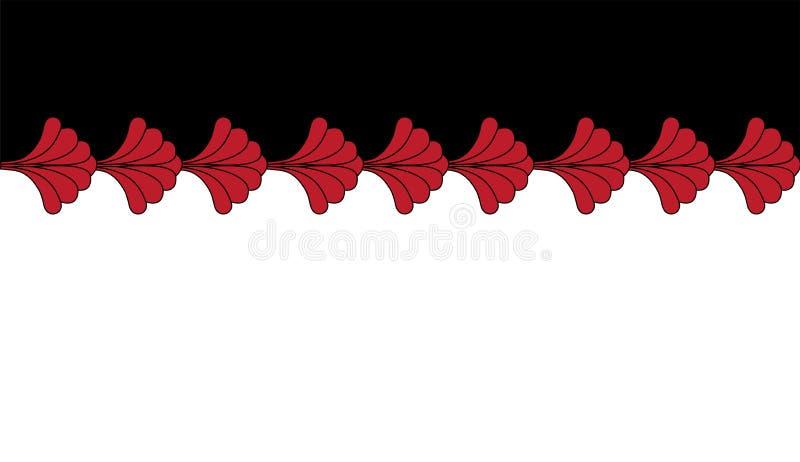 Conception horizontale géométrique de modèle de répétition de Gatsby Art Deco Red Border Frame sur le fond blanc illustration stock