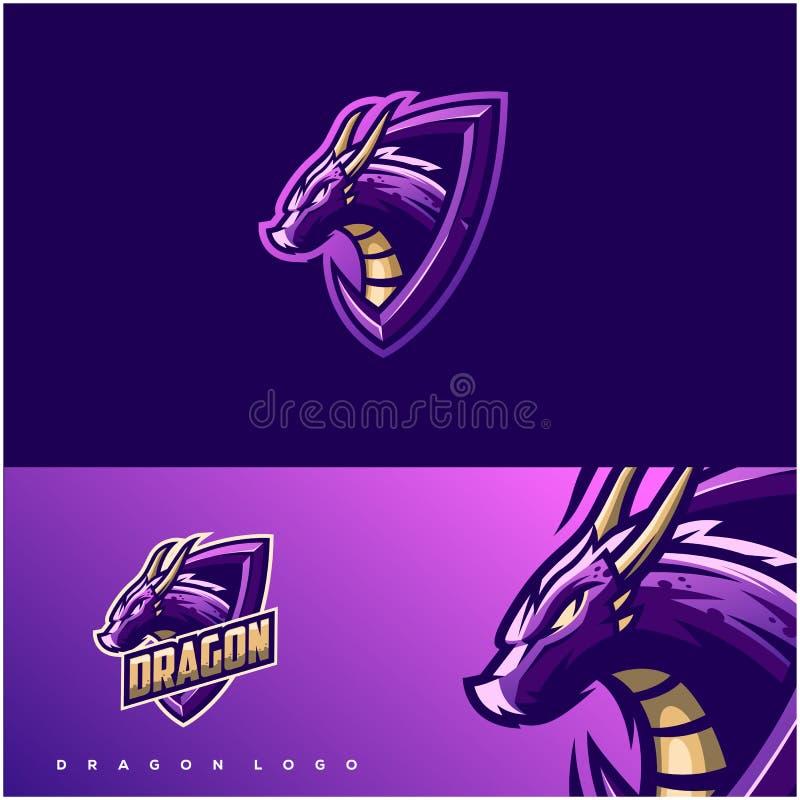 Conception impressionnante de logo de dragon illustration de vecteur