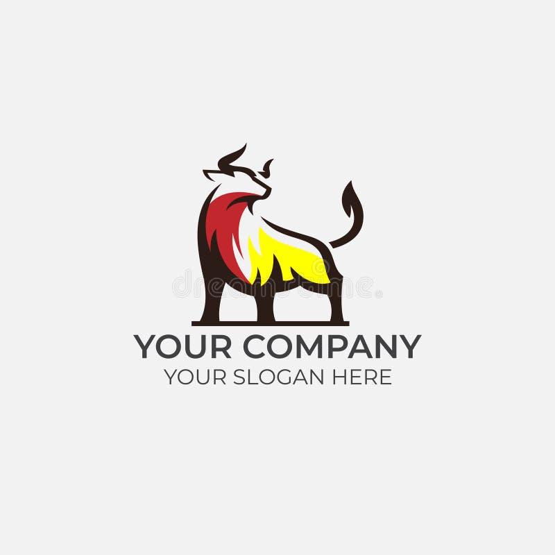 Conception impressionnante de logo de Taureau illustration de vecteur
