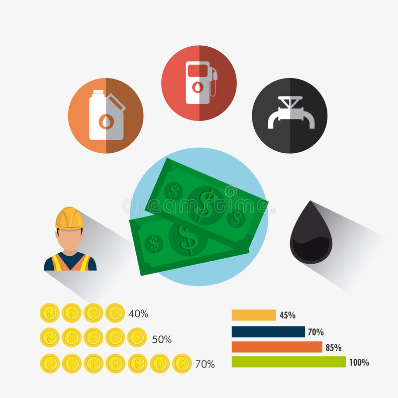 Conception infographic d'industrie pétrolière de pétrole et  illustration stock