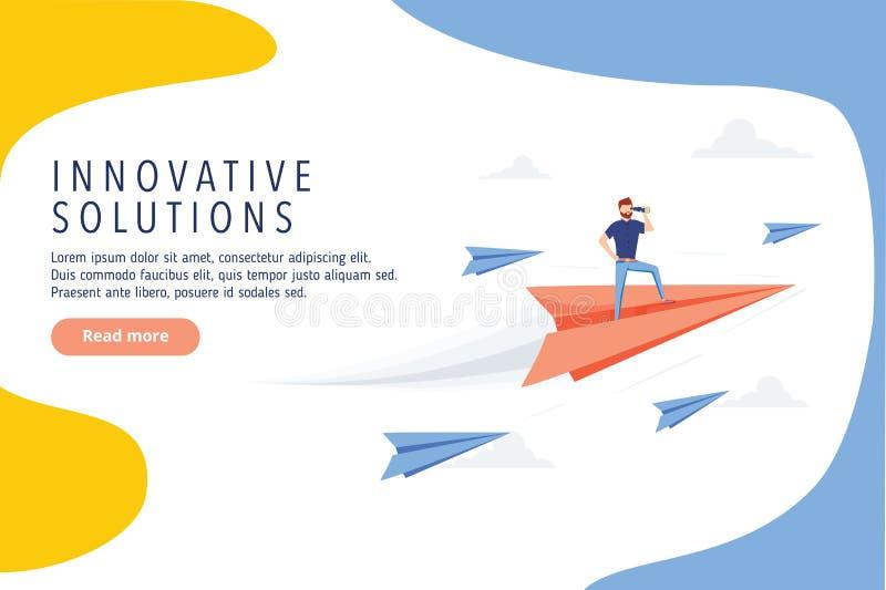 Conception innovatrice de site Web de solutions d'affaires Étude économique, bannière moderne de Web de vecteur Idée, but ou succ illustration stock