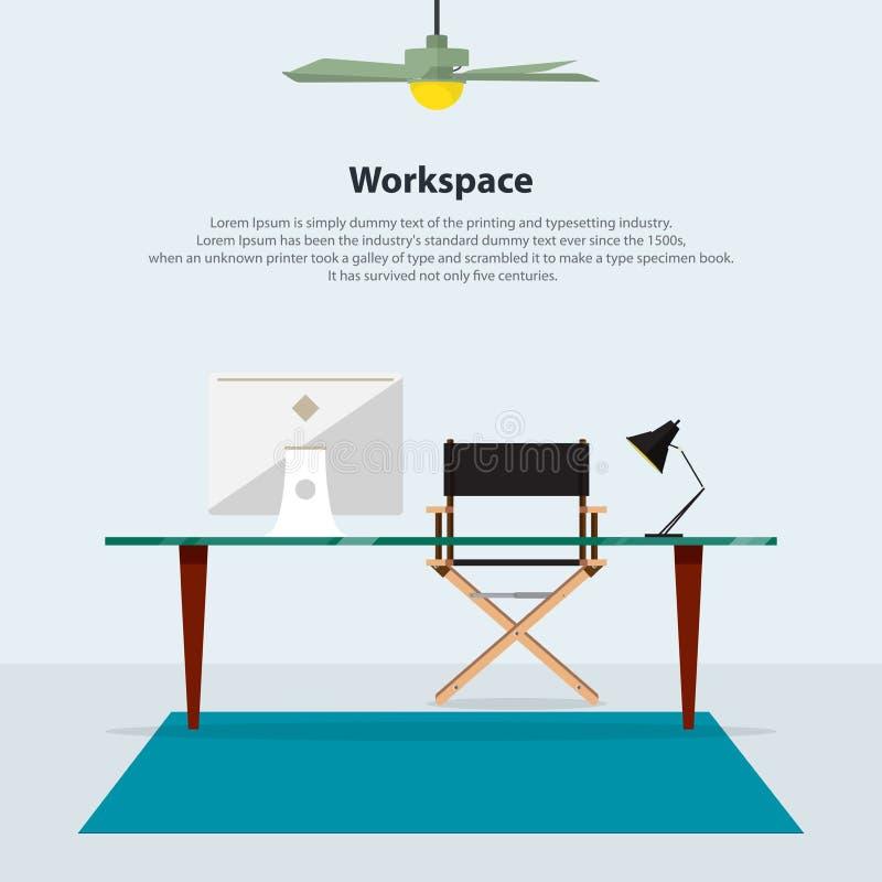 Conception intérieure à la maison Bureau moderne avec la chaise de directeur Vecteur illustration stock
