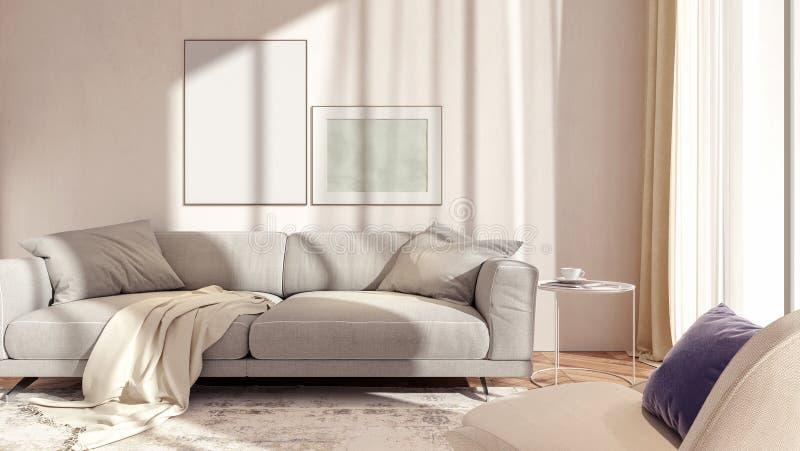 Conception intérieure blanche moderne de salon illustration de vecteur