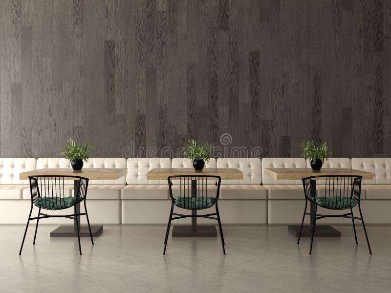 Conception intérieure d'un café, café rendu 3d illustration stock