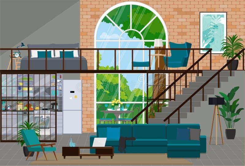 Conception intérieure dans le style de grenier avec une grande fenêtre Studio illustration stock
