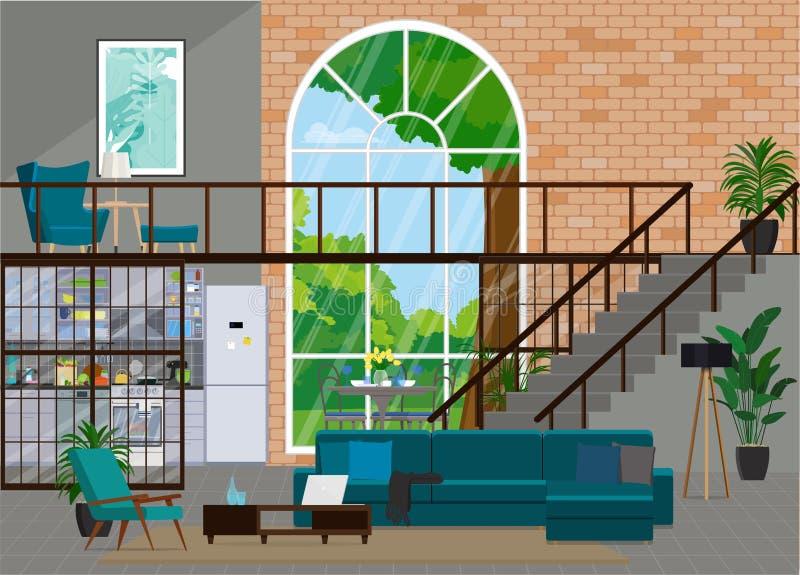 Conception intérieure dans le style de grenier avec une grande fenêtre Studio illustration libre de droits