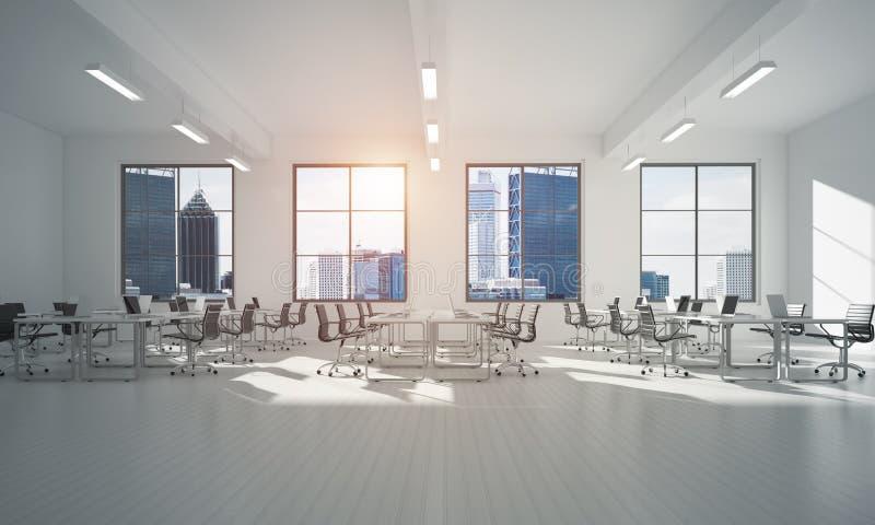 Conception intérieure de bureau dans la couleur de whire et rayons de lumière de fenêtre illustration libre de droits