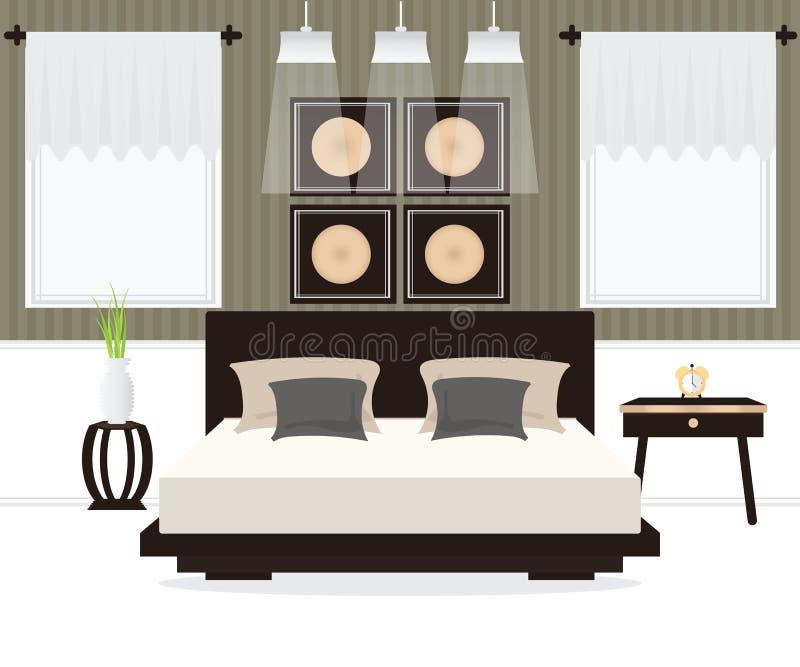 Conception intérieure de chambre à coucher illustration libre de droits