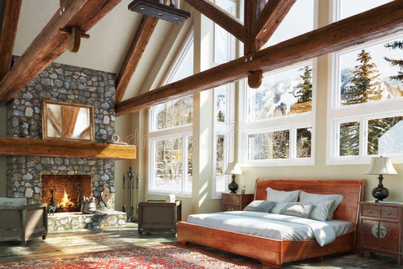 Conception intérieure de chambre à coucher de carlingue ouverte luxueuse de plancher illustration libre de droits