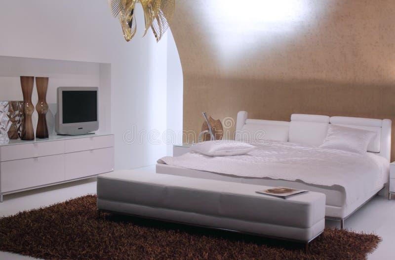 Conception intérieure de chambre à coucher moderne. photo stock