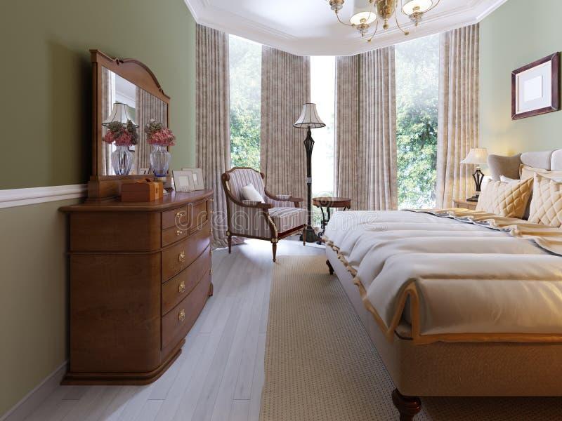 Conception intérieure de chambre à coucher traditionnelle classique moderne avec les murs olives, les meubles élégants et le ling illustration libre de droits