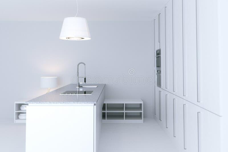 Conception intérieure de cuisine de pointe blanche Plan rapproché 3d rendent illustration libre de droits