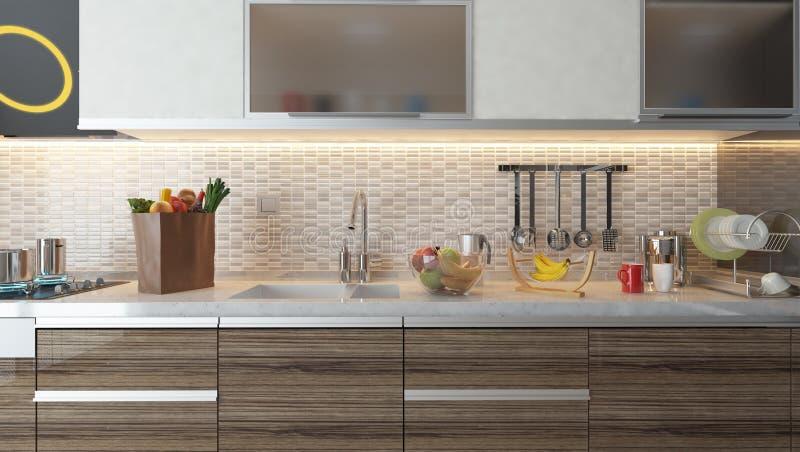 Conception int rieure de cuisine moderne avec le mur en c ramique blanc illustration stock - Conception de cuisine ...