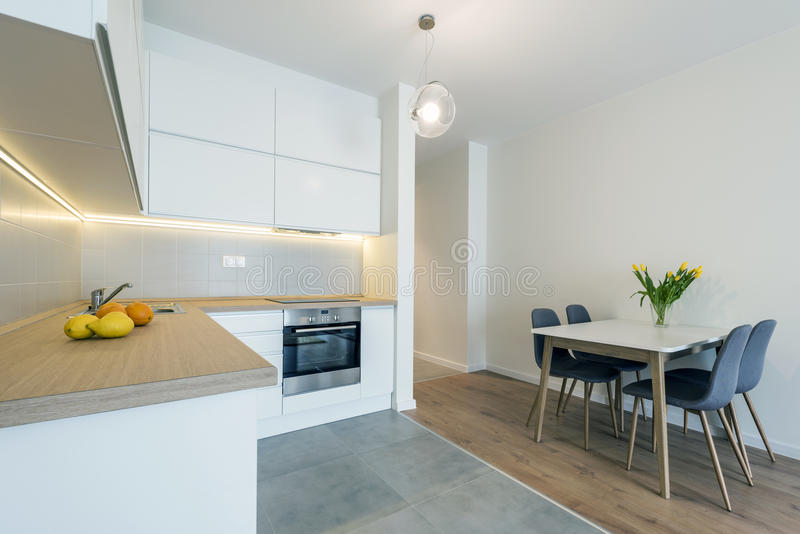 Conception intérieure de cuisine moderne dans la couleur blanche photo libre de droits