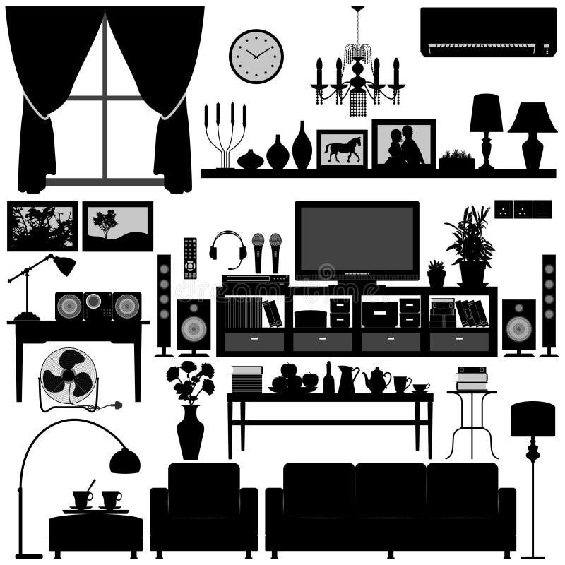 Conception intérieure de maison de meubles de salle de séjour illustration de vecteur