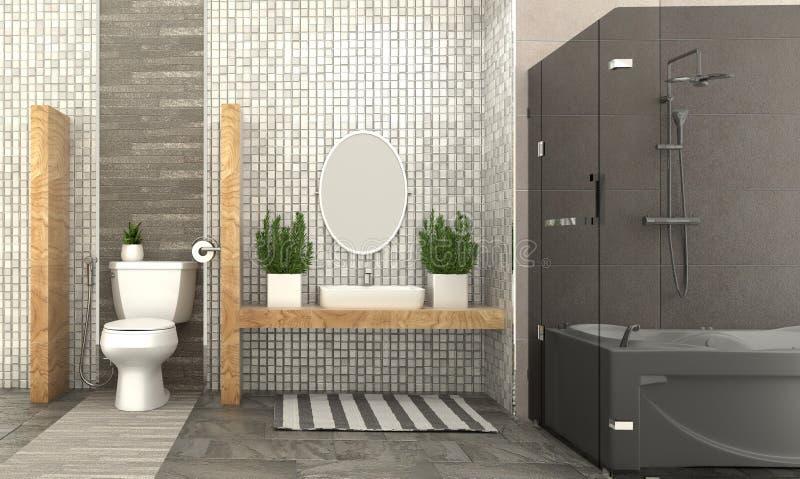 Conception intérieure de pièce de Bath - style moderne rendu 3d illustration libre de droits