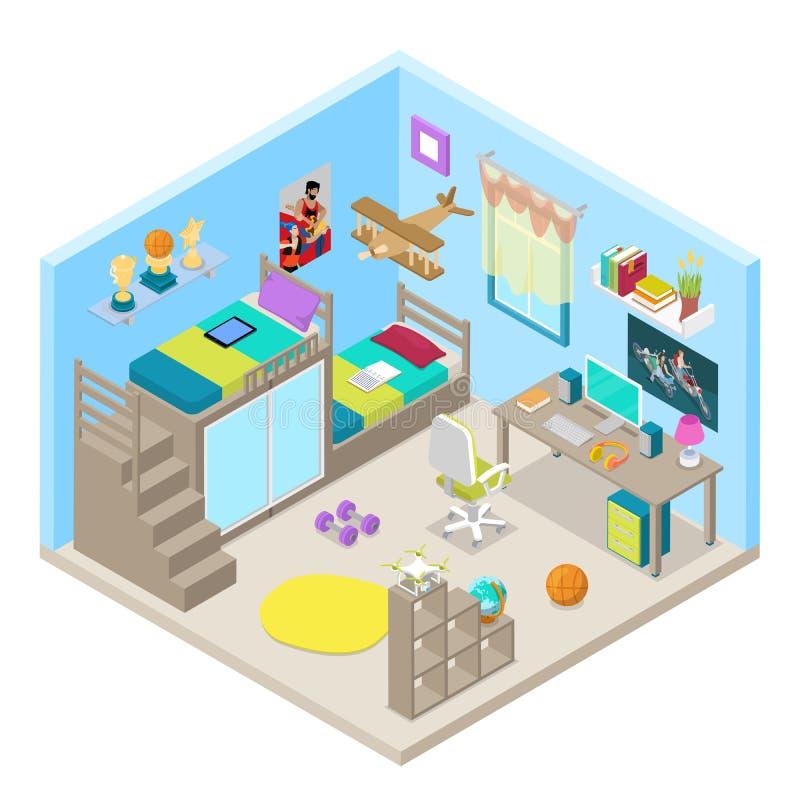 Conception intérieure de pièce d'adolescent avec les meubles et l'ordinateur Illustration plate isométrique illustration stock