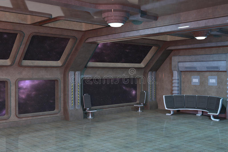 Conception intérieure de pièce de plate-forme de la science fiction illustration de vecteur