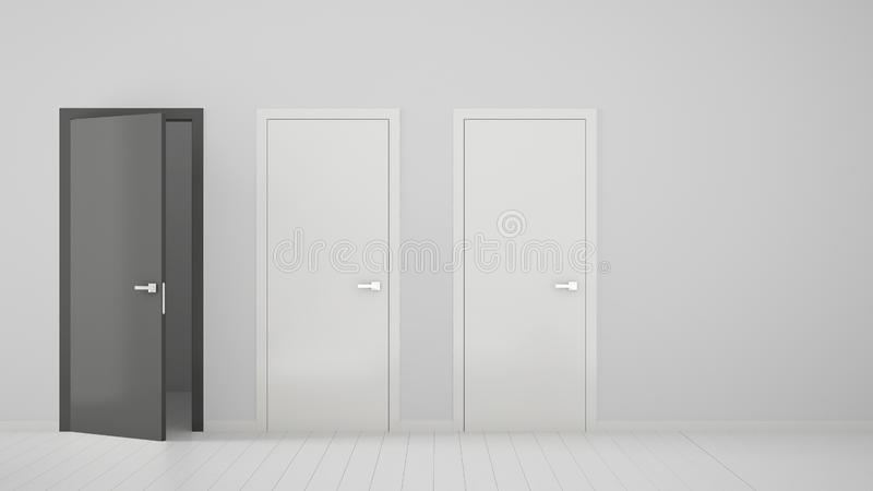 Conception intérieure de pièce vide avec deux portes fermées blanches et une porte grise ouverte avec le cadre, plancher blanc en images libres de droits