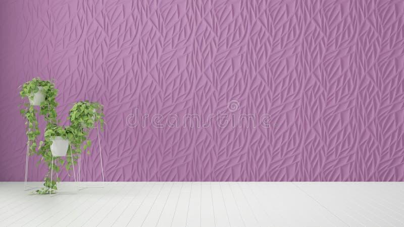 Conception intérieure de pièce vide, panneau moulé décoré par pourpre, plancher blanc en bois et usine mise en pot, fond moderne  illustration de vecteur