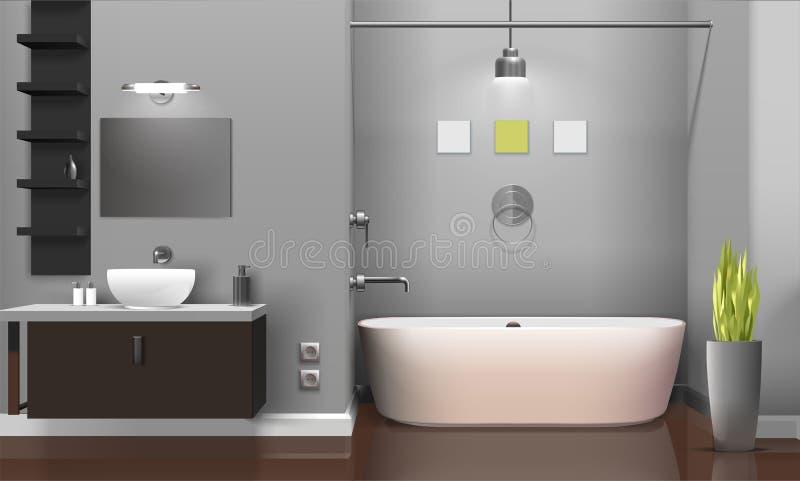 Conception intérieure de salle de bains réaliste moderne illustration de vecteur
