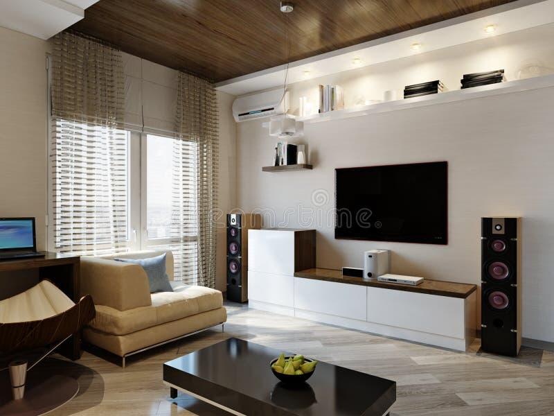 Conception intérieure de salle de séjour moderne images stock