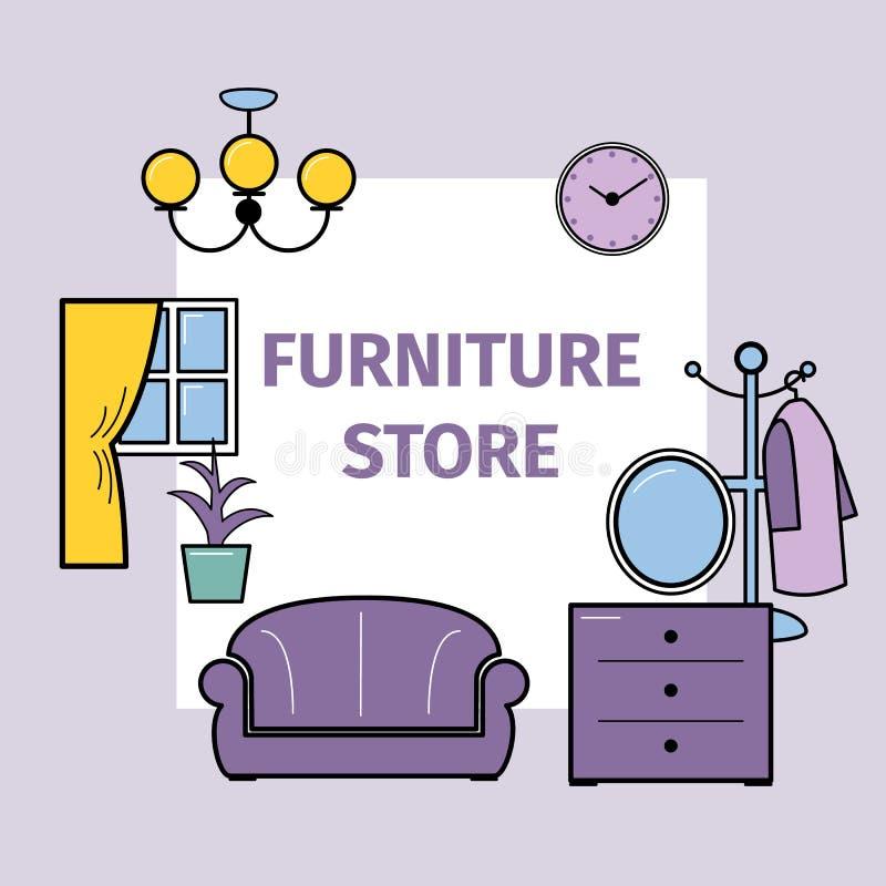 Conception intérieure de salon avec des meubles pour l'illustration de vecteur de magasin Sofa, lampe et bibliothèque, TV, lampes illustration stock