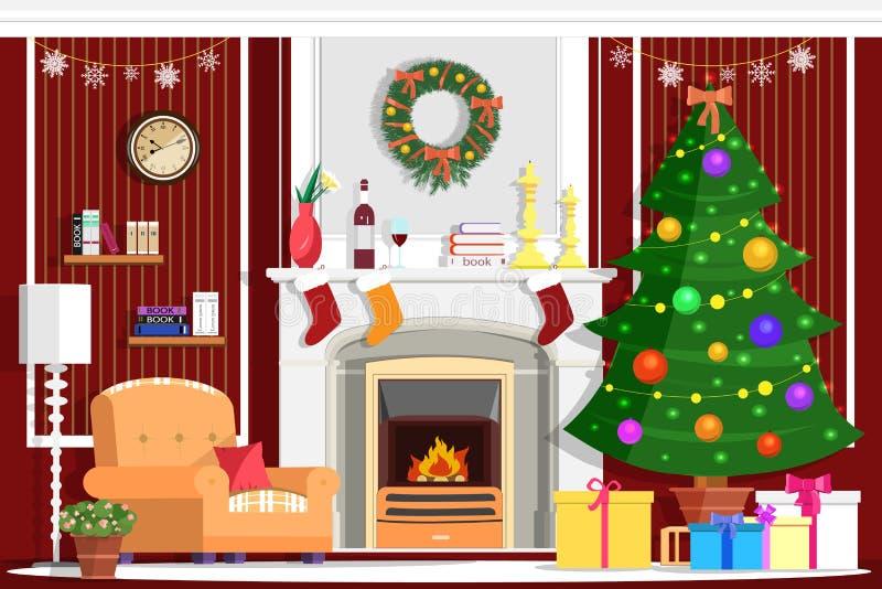 Conception intérieure de vecteur de pièce colorée de Noël avec la cheminée illustration de vecteur